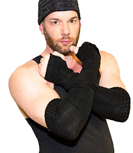 New York Black Arm Warmers For Men by KD dance New York Fingerless Stretch Knit with Thumb Hole Made In USA