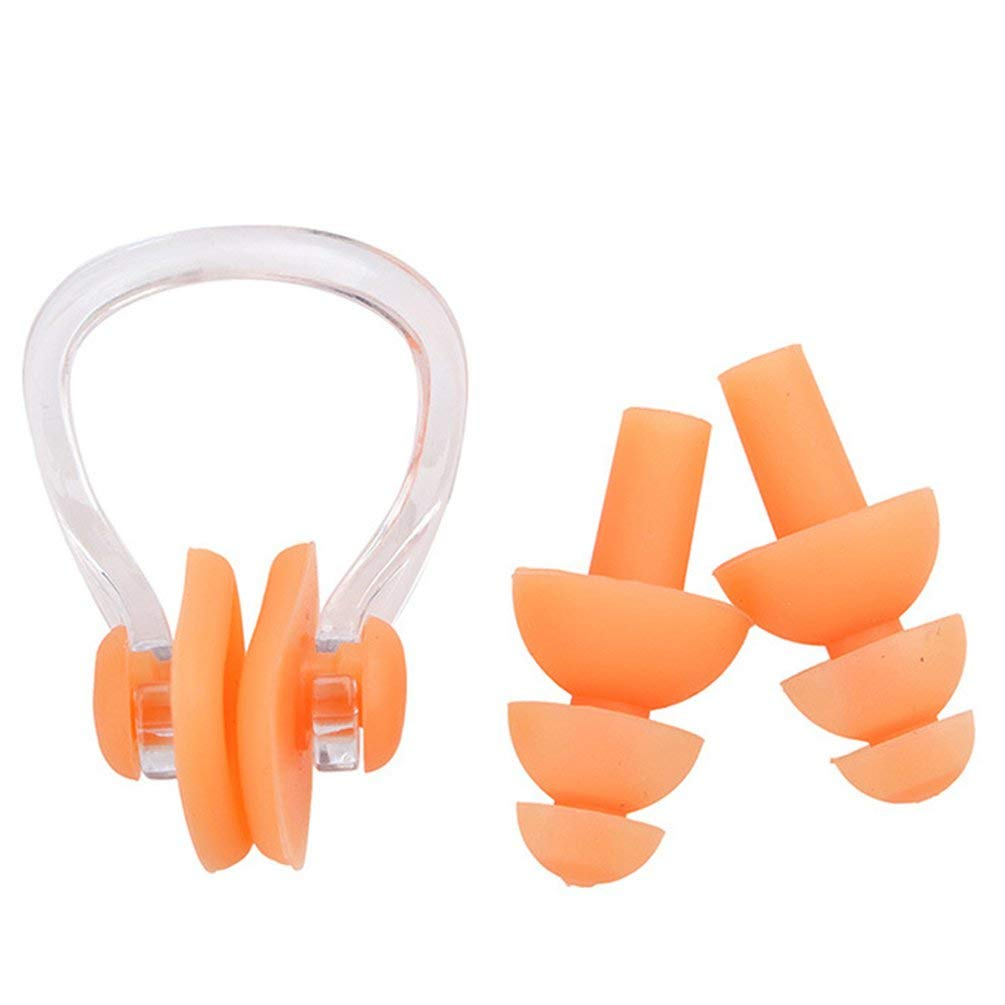 Swimming Earplugs Nose Clip Case Protective Prevent Water Protection Orange