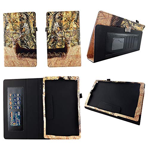 Camo Deer Case for Amazon Kindle Fire HD 10 Tablet (7th Generation, 2017 Release 10.1'') Premium Pu Leather Slim Folio Stand Cover w Stylus Holder and Auto Wake/Sleep