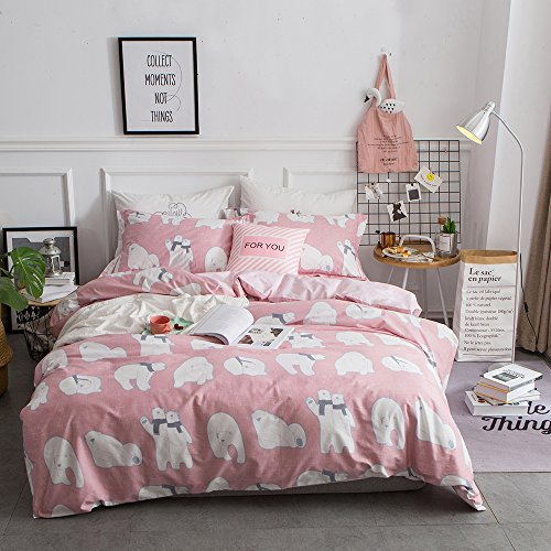 BuLuTu Bedding Polar Bear Print Kids Duvet Cover Sets Twin Pink For Girls Reversible Lattice Bedding Cover Sets Zipper Closure With 4 Corner Ties(No Comforter) (Twin Polar Bears)