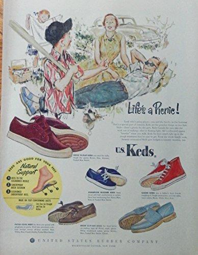 U.S. Keds Shoes, 50's print ad. full page color illustration (family on picnic) original 1953 Life Magazine Art