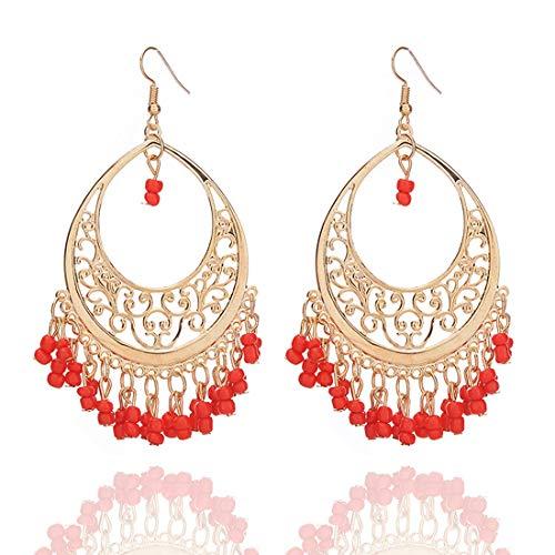 Bohemian Chandelier Coin Sequins Dangle Drop Earrings Ethnic Gypsy Beads Tassel Hoops with Disc Charms Boho Ear Jewelry Women (red beads) (Red Bead Chandelier Earrings)