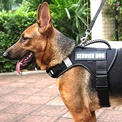 No Pull Service Vest Dog Harness with Soft Handle and Reflective for Service Dogs, Adjustable Oxford Padded Soft Vest with Removable Reflective Patches for Small Medium Large Dogs