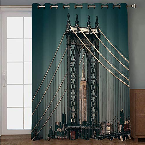 Blackout Patio Door Curtain,Scenery Decor,City Lights Landscape View with Bridge Empire State Building Skyscrapes Picture,Black,for Sliding & Patio Doors, 102