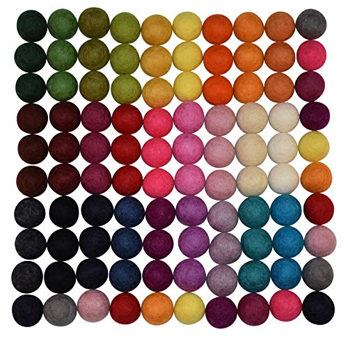 Natura Pure Baby Wool (100% Wool Felt Balls - 100 pieces | Hand-Felted Pom Poms | Pure Wool Beads | Felt Ball DIY (25mm, Mixed Color))