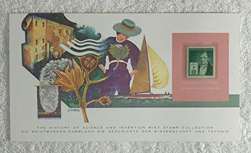 - Eli Whitney - Postage Stamp (United States, 1940) & Art Panel - The History of Science & Invention - Franklin Mint (Limited Edition, 1986) - Cotton Gin