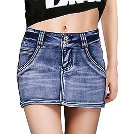 DELUXSEY Womens Denim Skirt Mini – Summer Pencil Skirts for Women – Short Skirts