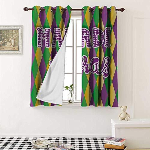 shenglv Mardi Gras Blackout Draperies for Bedroom Stylized Mardi Gras Lettering on Classical Diamond Line Backdrop Curtains Kitchen Valance W72 x L63 Inch Violet Fern Green Marigold