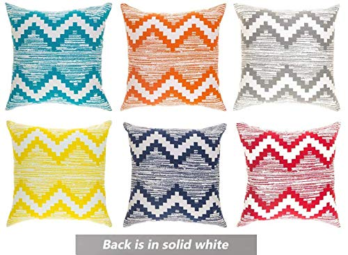 olor Vibrant Throw Pillow Covers 16 x 16 inches; 100% Cotton Designer Toss Cushion Covers Pack of 6 (Navy-Grey-Orange-Aqua-Yellow-Red) (Multi Color Pillow)