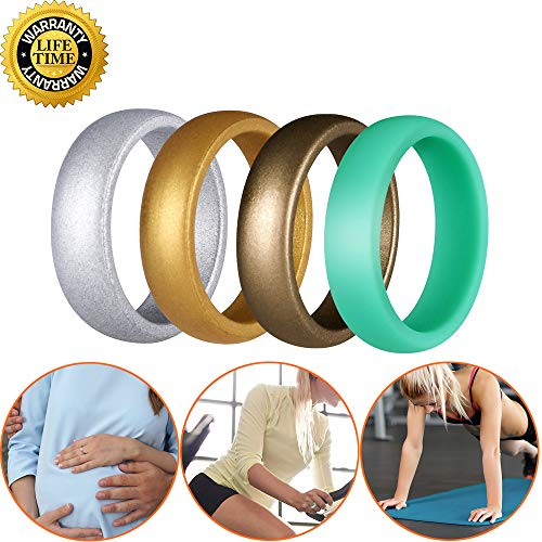 worthofbest Silicone Rings for Women, Rubber Wedding Bands, Suitable for Jobs Requiring Frequent Hands Washing, Gym, Doing Housework, Swollen Pregnancy Fingers, Nurse, Athlete, 5.5-6, 4 Packs