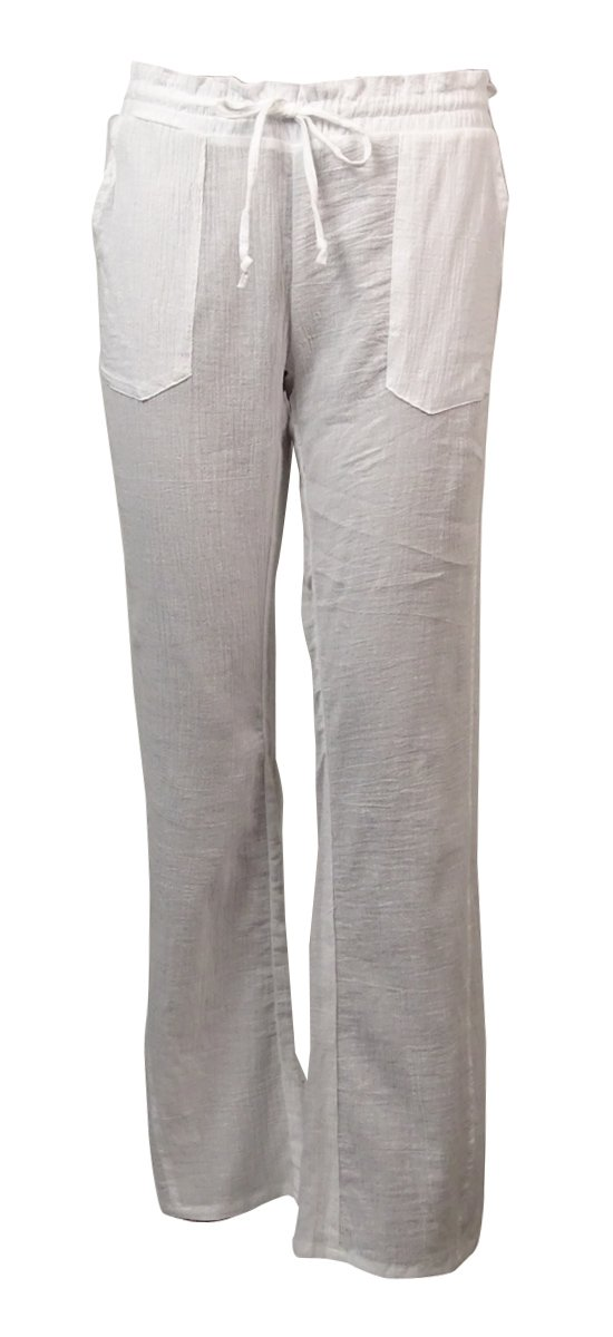 Miken Womens Crinkled Cotton Pocket Swim Cover Pants (XS, Bright White)
