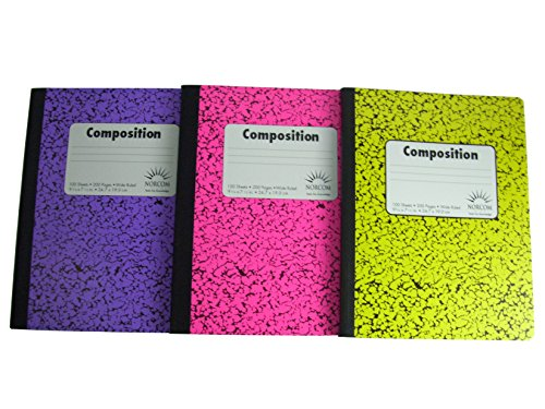 Norcom Wide Ruled 100 Sheet Composition Notebooks ~ Pack of 3 (Pink ~ Purple ~ Yellow)