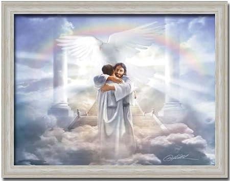 Welcome My Child Jesus Heaven Angel Art Print Framed: Amazon.co.uk: Kitchen  & Home