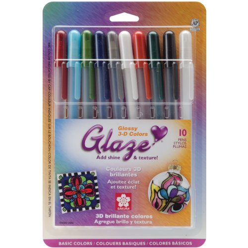 Sakura 38369 10-Piece Blister Card Glaze 3-Dimensional Glossy Ink Pen Set, Assorted Color]()