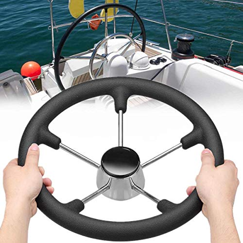 Kavas - 13-1/2 Inch Marine Steering Wheel Destroyer 5 Spoke With Black Foam Grip - Boat Fits standard 3/4