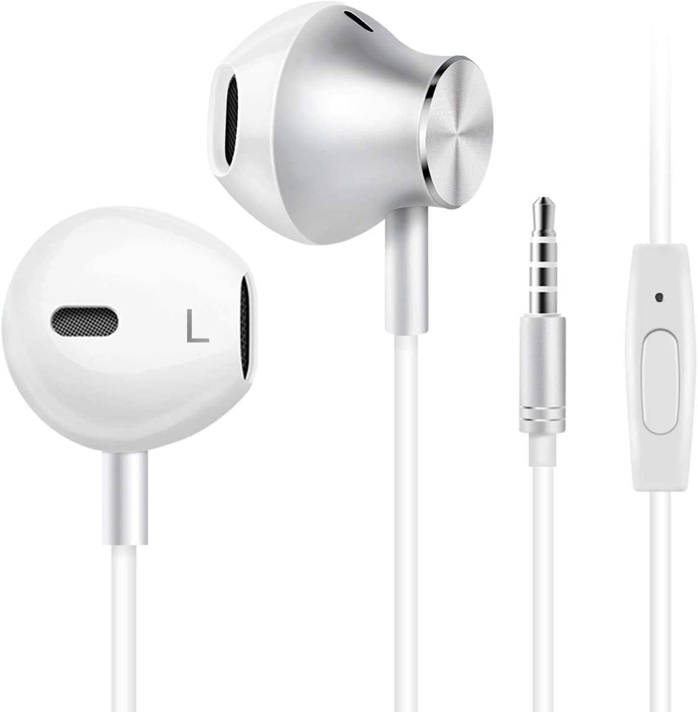 Auriculares In-Ear auriculares con microfono, auriculares cable, Cancelación de Ruido (Blanco)