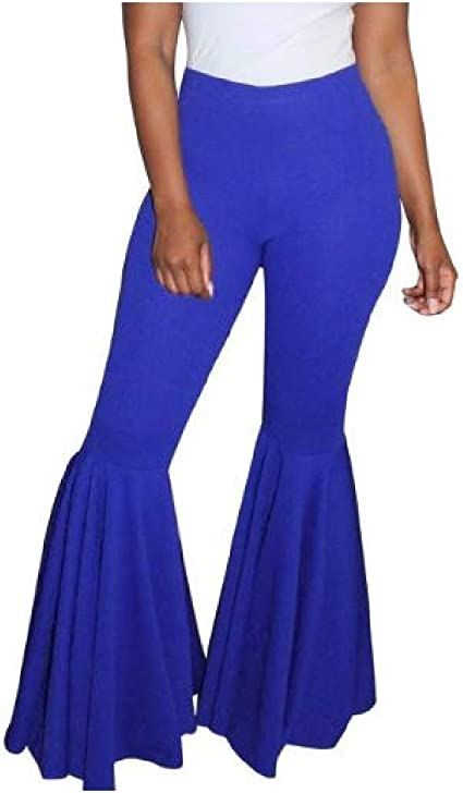EnergyWD Women Solid Colored Nightclub Flouncing Mid-rise Bell Pants