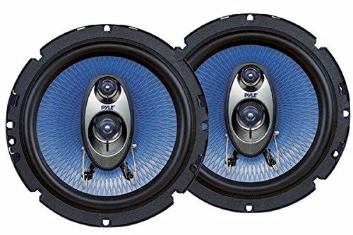 Car Factory Outlet - Pyle 6.5'' Three Way Sound Speaker System - Round Shaped Pro Full Range Triaxial Loud Audio 360 Watt Per Pair w/4 Ohm Impedance and 3/4'' Piezo Tweeter for Car Component Stereo PL63BL