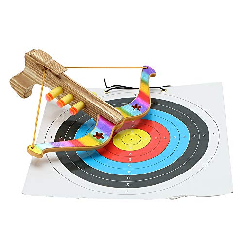 TOPARCHERY Bow and Arrow Archery Set Crossfire Bow Blaster Children Kids Toy with Target Outdoor Garden Fun Game Colorful with 3pcs EVA Suction Cup Soft Bullets