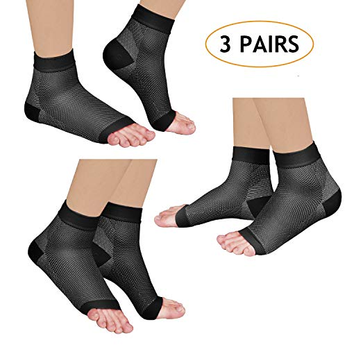 Laneco Plantar Fasciitis Socks (3 Pairs), Compression Foot Sleeves with Heel Arch & Ankle Support, Great Foot Care Compression Sleeve for Men & Women (Black, S(US Men 6-7.5 / Women 4-6.5))