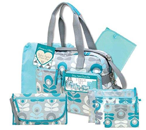 Emma & Chloe Deluxe Satchel Baby Diaper Bag 7-Piece Set in Grey/Teal