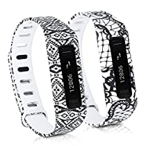kwmobile 2in1 set: 2x Sport spare bracelet for Fitbit One in lace black white, aztec ornaments black white, Inner dimensions: approx. 13 - 20 cm