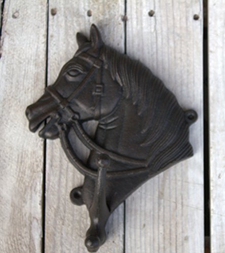 (Large Horse Head Hook Black Cast Iron Wall Mounted Wall Double )