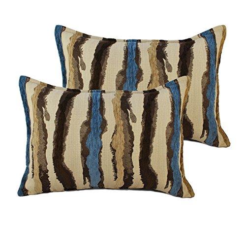 Sherry Kline Waves Blue Brown Boudoir Decorative Pillows (Set of 2) (Striped Pillow Boudoir)