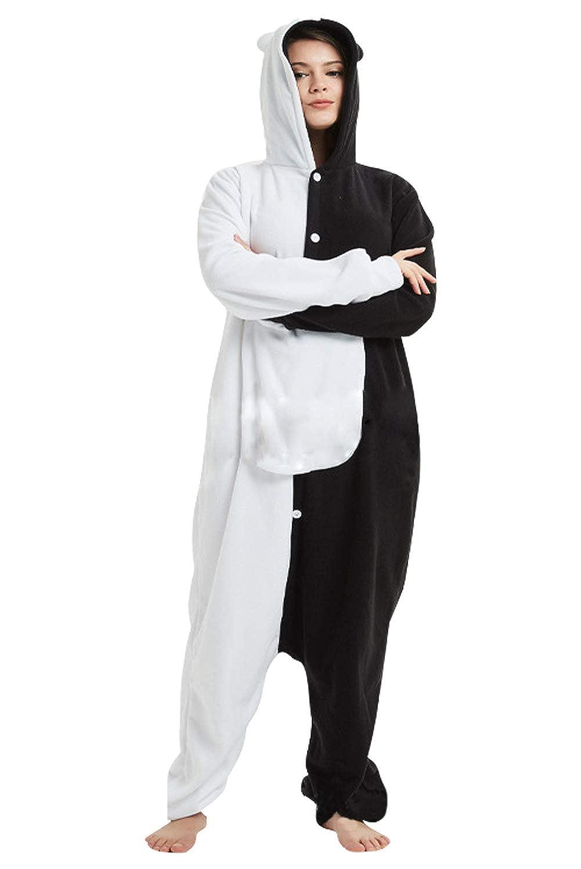 Donne Anime Cosplay Pigiama Monokuma in Pile Halloween Tuta con Cappuccio Abbottonata di Orso Bianco e Nero