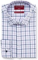 Van Heusen Men's Slim Fit Shirt Check, Mauve/Indigo, Small