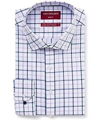 Van Heusen Men's Slim Fit Shirt Check, Mauve/Indigo, Small