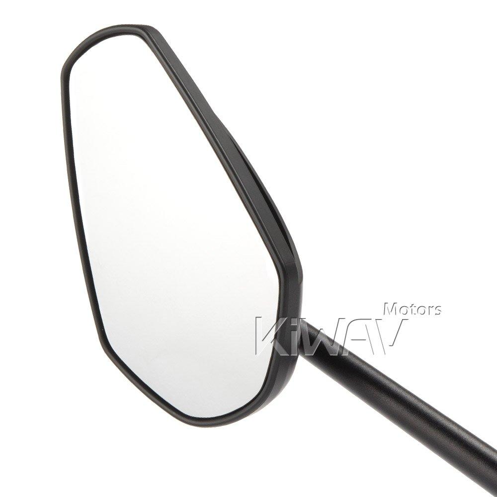 KiWAV Magazi Zipper motorcycle fairing mirrors aluminum black for Sportbike w/ gloss black adapter by KiWAV (Image #2)