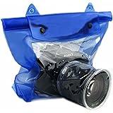 Luniquz DSLR SLR Camera Waterproof Bag Housing Case Pouch Cover for Canon Nikon -Blue