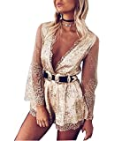 Khaleesi Women Gold Plunge Neck Drawstring Glitter Romper Sequin Party Playsuit Gold L