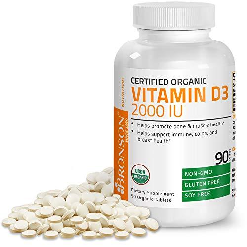 Bronson Vitamin D3 2000 IU Certified Organic Vitamin D, Non-GMO, USDA Certified, 90 Tablets