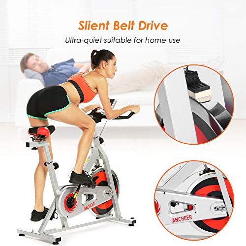 ANCHEER Stationary Bike, Indoor Cycling Exercise Bike 40 LBS Flywheel (Sliver_NO Pulse) by ANCHEER (Image #4)