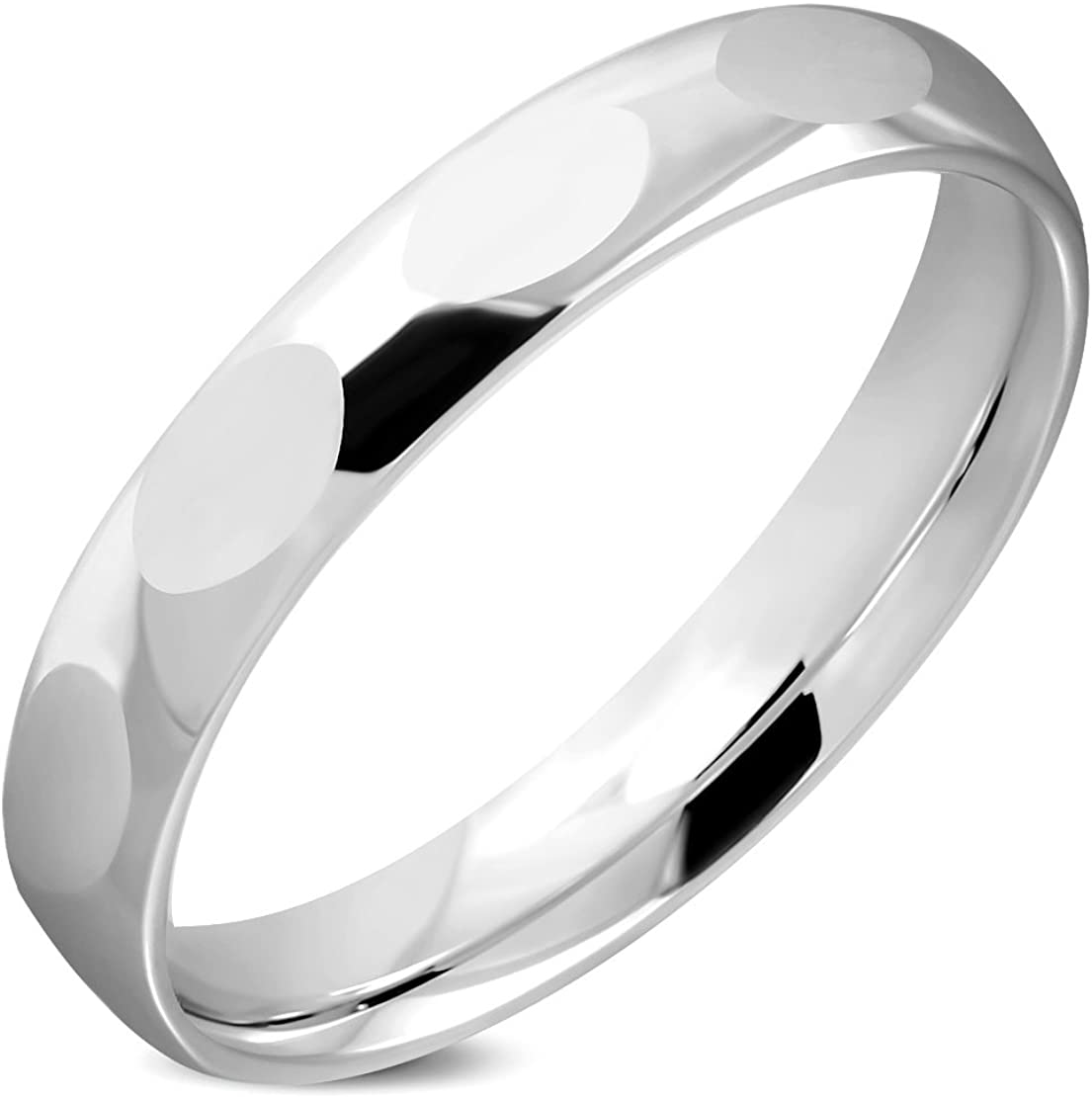 Stainless Steel Faceted Comfort Fit Half-Round Wedding Band Ring