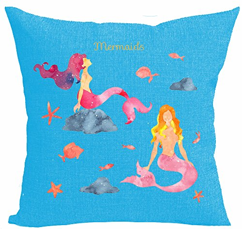 Watercolor Beautiful Mermaids Sat On The Stone Cotton Linen Throw Pillow Case Personalized Cushion Cover NEW Home Office Decorative Square 18 X 18 Inches
