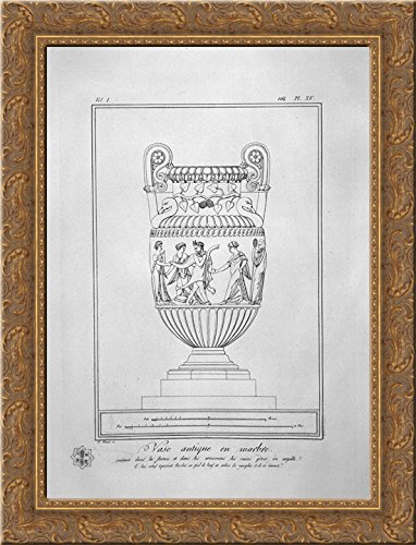 Decorative marble Vase (inc. in outline) 20x24 Gold Ornate Wood Framed Canvas Art by Piranesi, Giovanni Battista