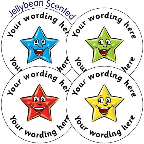 105 Personalised Jellybean Scented Mixed Smiley Star School Teachers Reward Feedback Marking Stickers 37mm Primary Teaching Services
