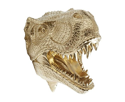 Near and Deer  Taxidermy T-Rex Dinosaur Head Wall Mount, Gold