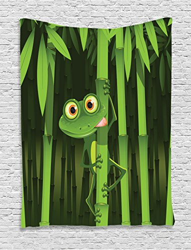 Ambesonne Animal Tapestry, Funny Illustration of Friendly Fun Frog on Stem of The Bamboo Jungle Trees Cute Nature, Wall Hanging for Bedroom Living Room Dorm, 40 W X 60 L Inches, Green Shades