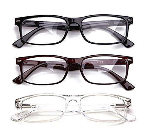 Newbee Fashion - Unisex Translucent Simple Design No Logo Clear Lens Glasses Squared Fashion ()