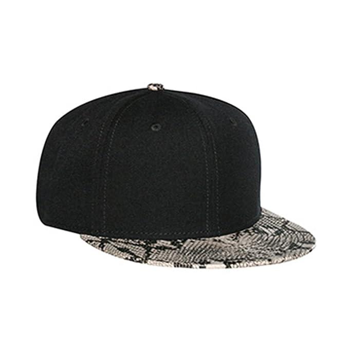 Premium Wool Blend Snakeskin Flat Bill Snapback Baseball Cap - Black Khaki b41e52c130b