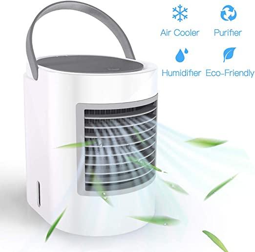 Mini Fan Hand-held USB Rechargeable Air Conditioner Cooler With LED Night Light