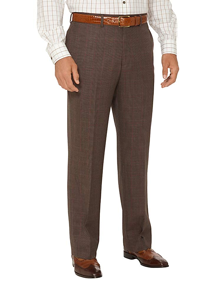 1920s Men's Pants, Trousers, Plus Fours, Knickers  Wool Plaid Flat Front Suit Pants Paul Fredrick Mens Super 100s $129.95 AT vintagedancer.com