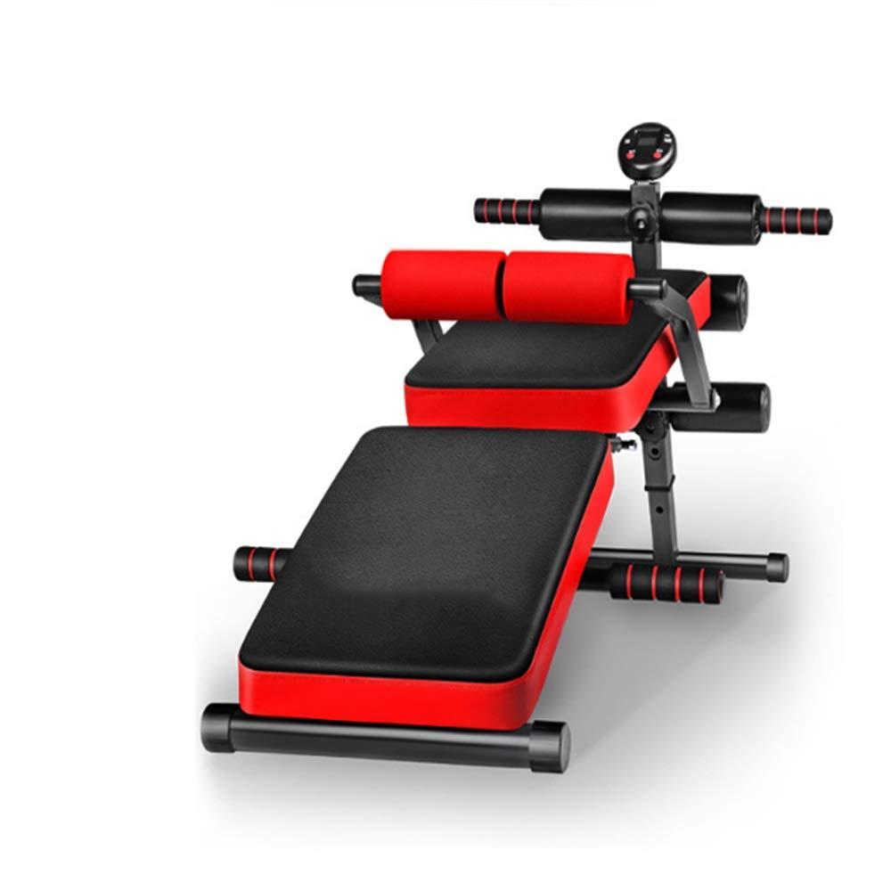 Zhangcaiyun Übungsbank Home Sit-up Fitnessgeräte Board Multifunktions-Abdominal-Gerät - Faltbar nimmt Nicht Platz (Farbe : Rot)