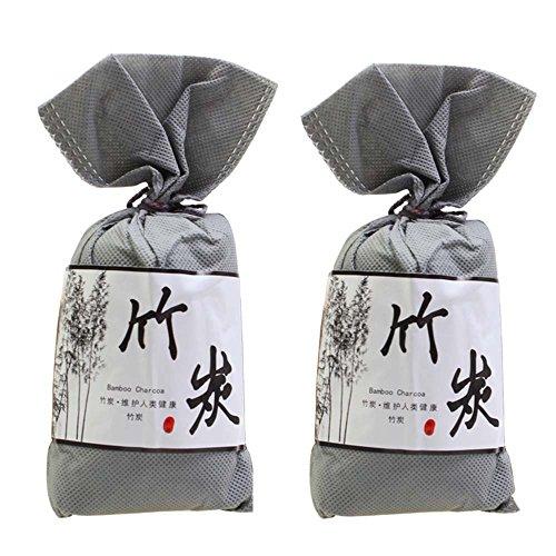 Air Purifying Bag 2 Pack,AIYoo Nature Bamboo Charcoal Bag Deodorizer Freshener Bag 100G,Odor Eliminator Odor Absorber Bag for fridge Closets Shoe