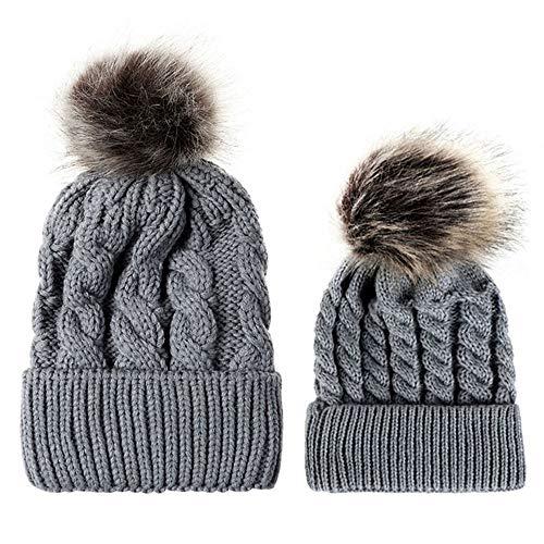 Little Kids Winter Warm Hat,Jchen(TM) Fashion Mom and Baby Knitting Wool Hemming Hat Keep Warm Winter Faux Fur Ball Hat Cap (Gray) ()