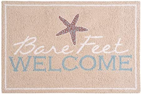 C F Home Bare Feet Welcome Starfish Coastal Tropical Summer Beach Ocean Sea Life Wool Handcrafted Premium Hooked Indoor Area Rug 2×3 Hooked Rug Natural